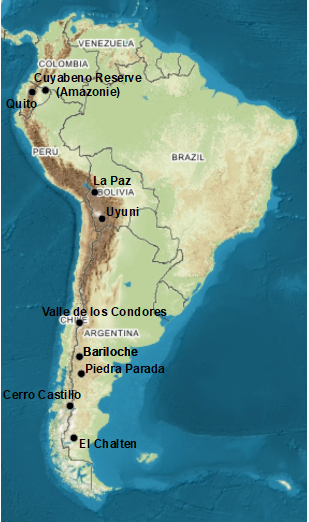 Etapes Amérique du sud