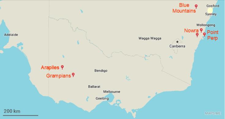cartes australie grimpe